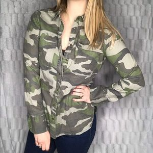 J. Crew Camo Camouflage Button Down Top